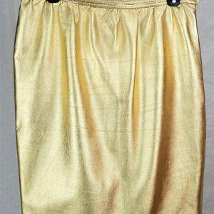 Saint Laurent Gold Leather Skirt Size 44 Euro